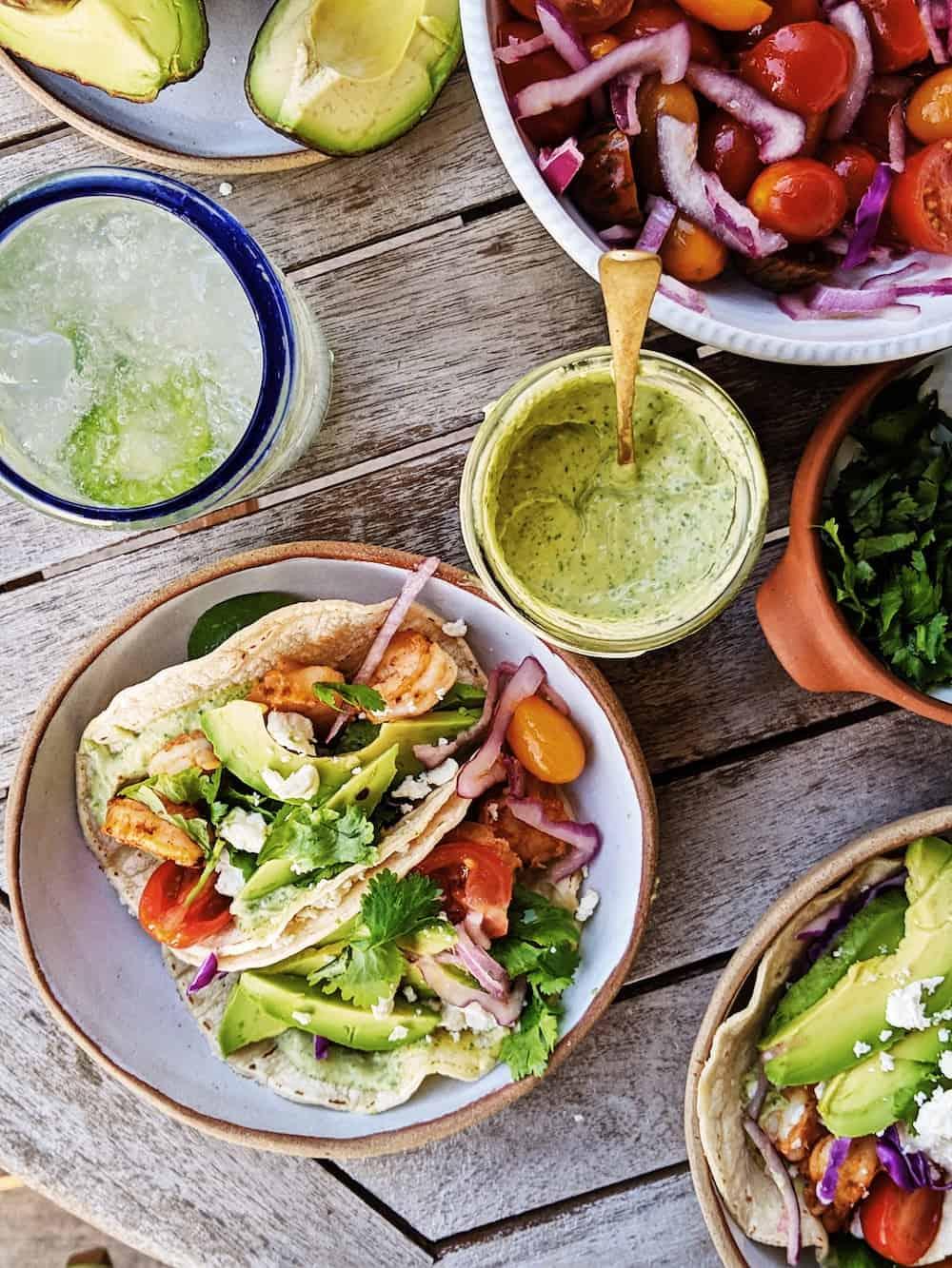 shrimp tacos with avocado sauce