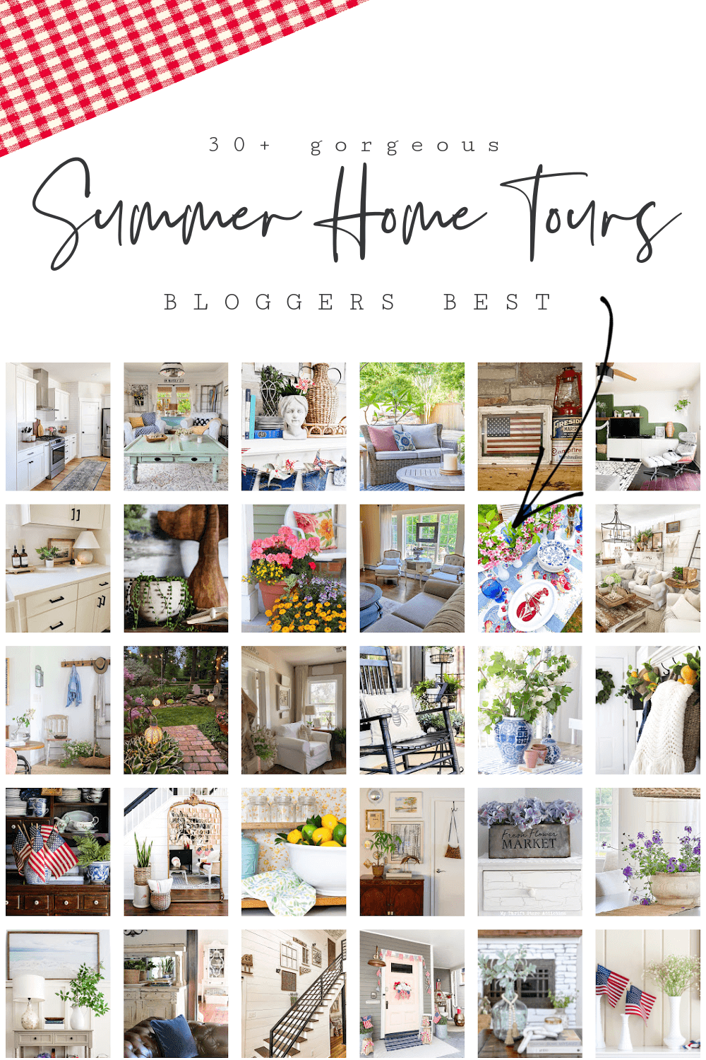 Pinterest graphic with collage of interior thumbnails for blogger best summer home tours