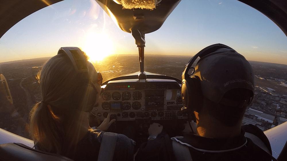 Flight training over Sydney at sunset
