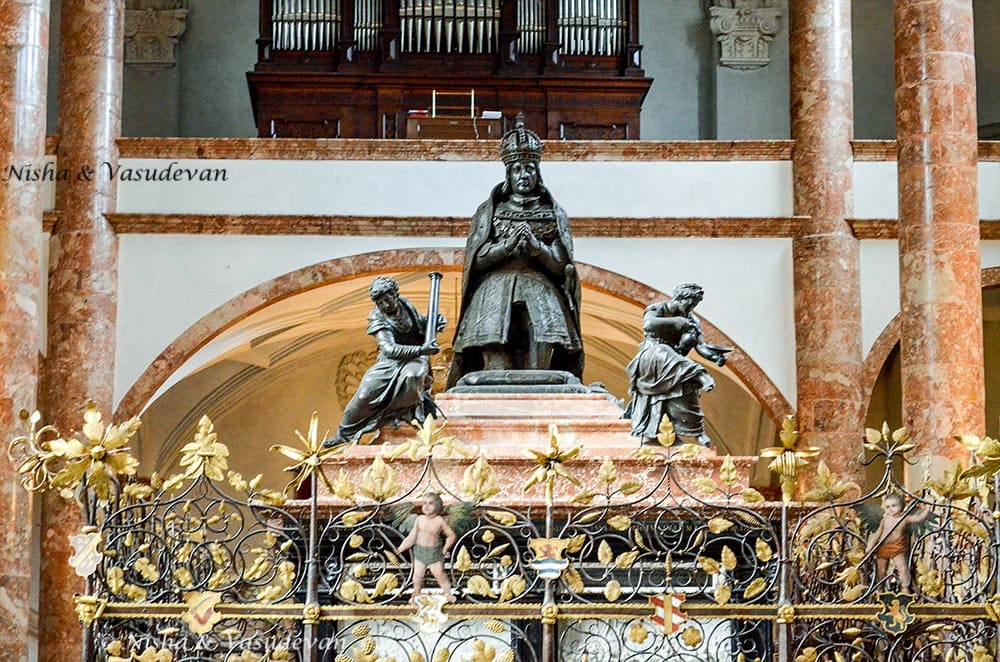 Statue of Maximilian I at his cenotaph, inside the Court Church Innsbruck, Austria. Self guided walking tour of innsbruck old city of innsbruck