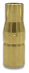 Tregaskiss thread-on nozzle for use AccuLock R consumables shown from front