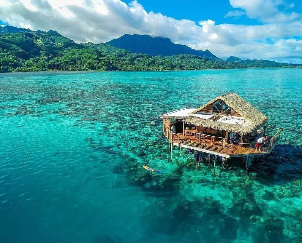 An over water bungalow in Raiatea, French Polynesia