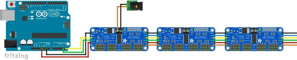 Viele Servos mit Arduino steuern - Viele PCA9685 Module
