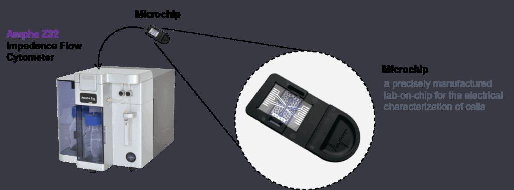 Illustration of how impedance flow cytometer Ampha Z32 works