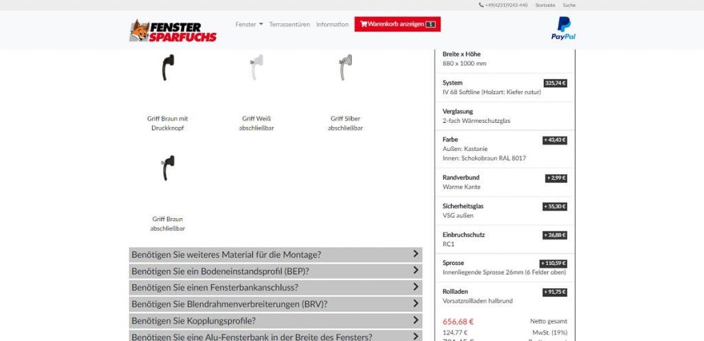 ObjectCode GmbH Fenster Sparfuchs Fensterkonfigurator Fenster nach Maß passgenau Preis anpassen Stückliste