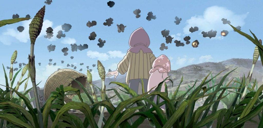 Suzu y la hermana de su marido, durante un bombardeo en En este rincón del mundo.