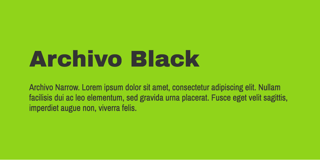 Archivo Black & Narrow font variant