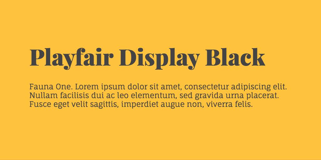 Playfair Display & Fauna One font combination