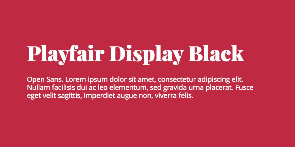 Playfair Display & Open Sans font combination