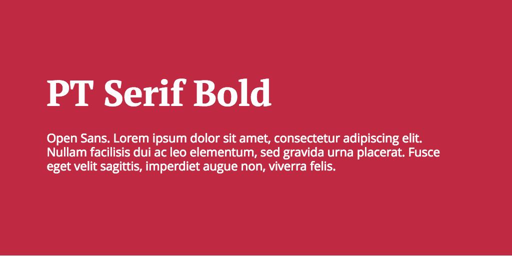 PT Serif & Open Sans font combination