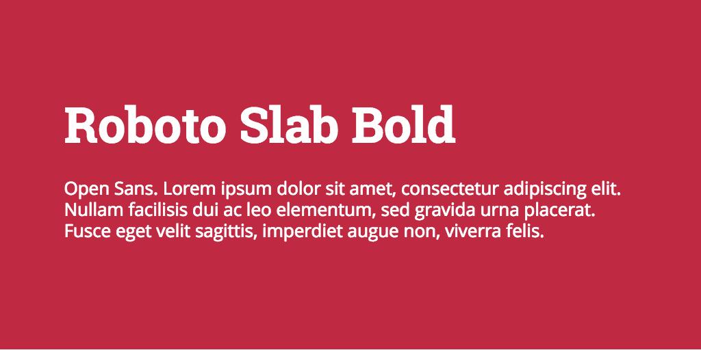Roboto Slab & Open Sans font combination