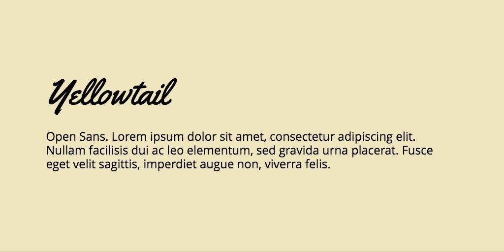 Yellowtail & Open Sans font combination