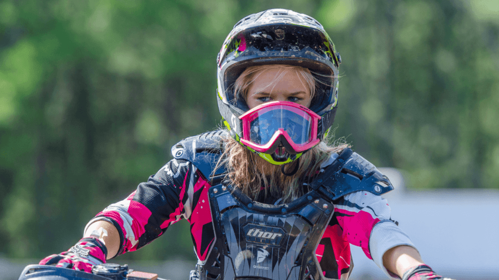 Having fun on the motocross trail