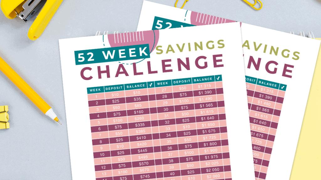 52 Week Saving Challenge Budget Printable
