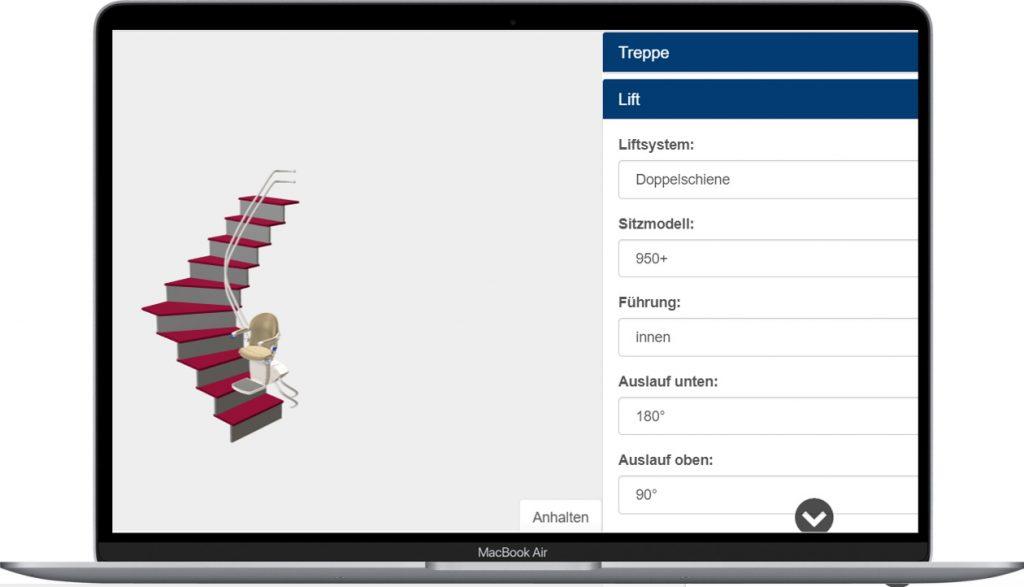 Treppenlift-Konfigurator mit 3D-Animation