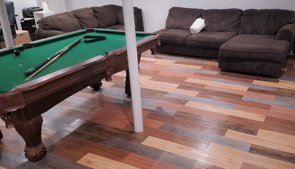 peel and stick floor planks installed