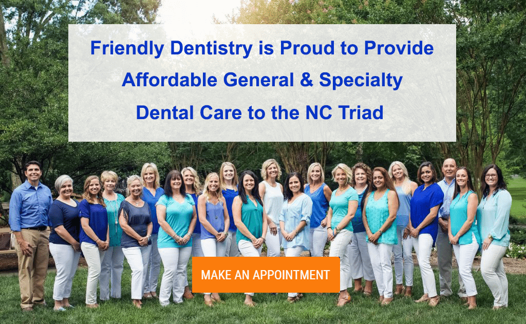 Friendly Dentistry staff group image with make an appointment button