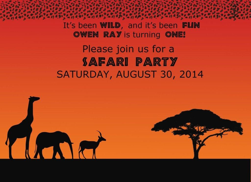 safari theme birthday invitation orange orange background with black animal shadows