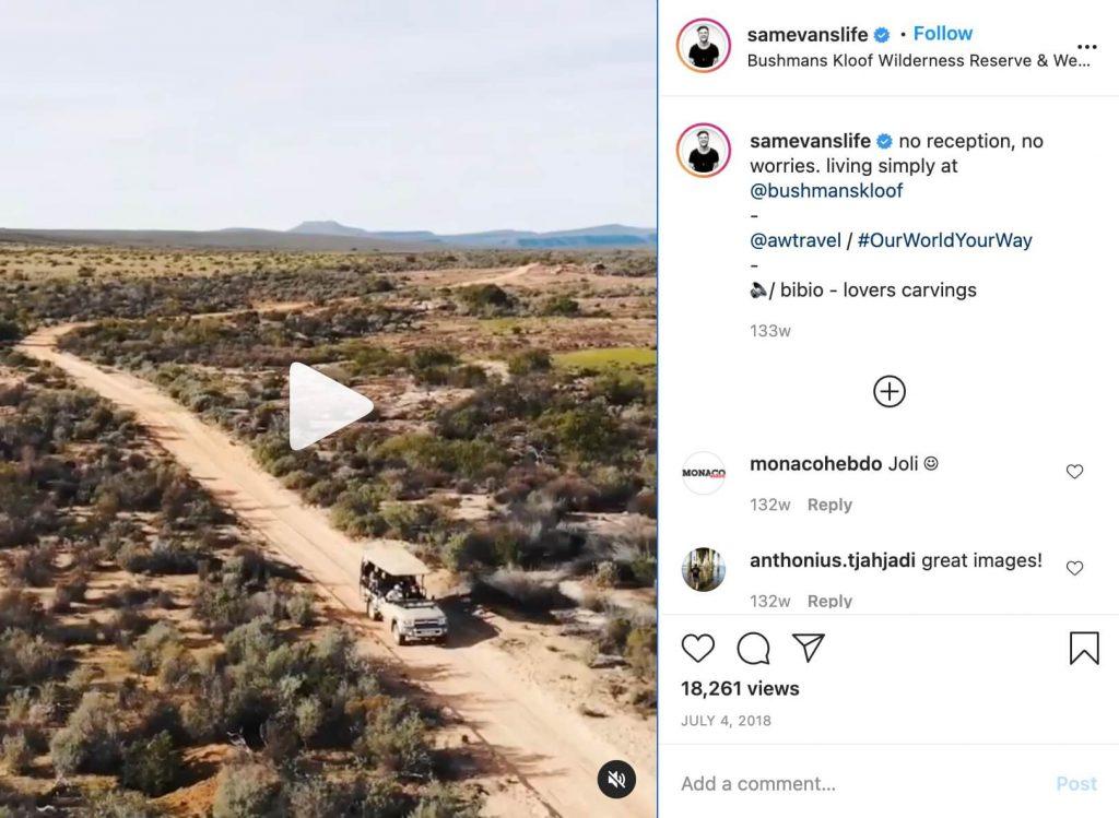 Sam Evans Africa Instagram Video