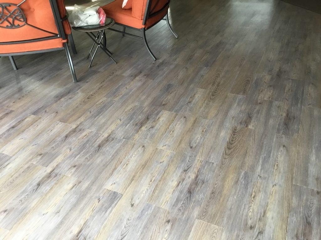 silver spruce floor planks installed