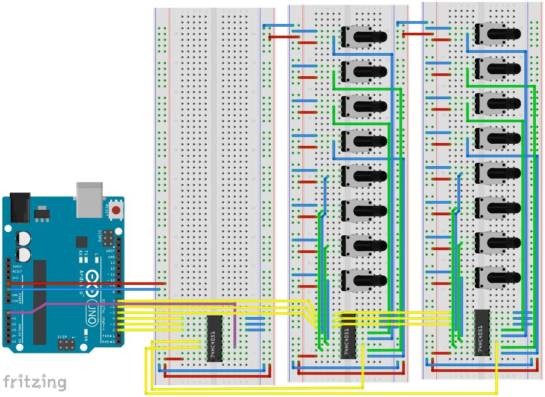74HC4051 mit Arduino –So liest man richtig viele Potentiometer aus