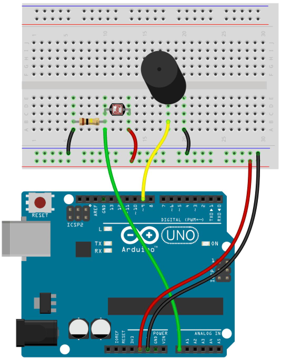 Arduino Fotowiderstand Bauplan
