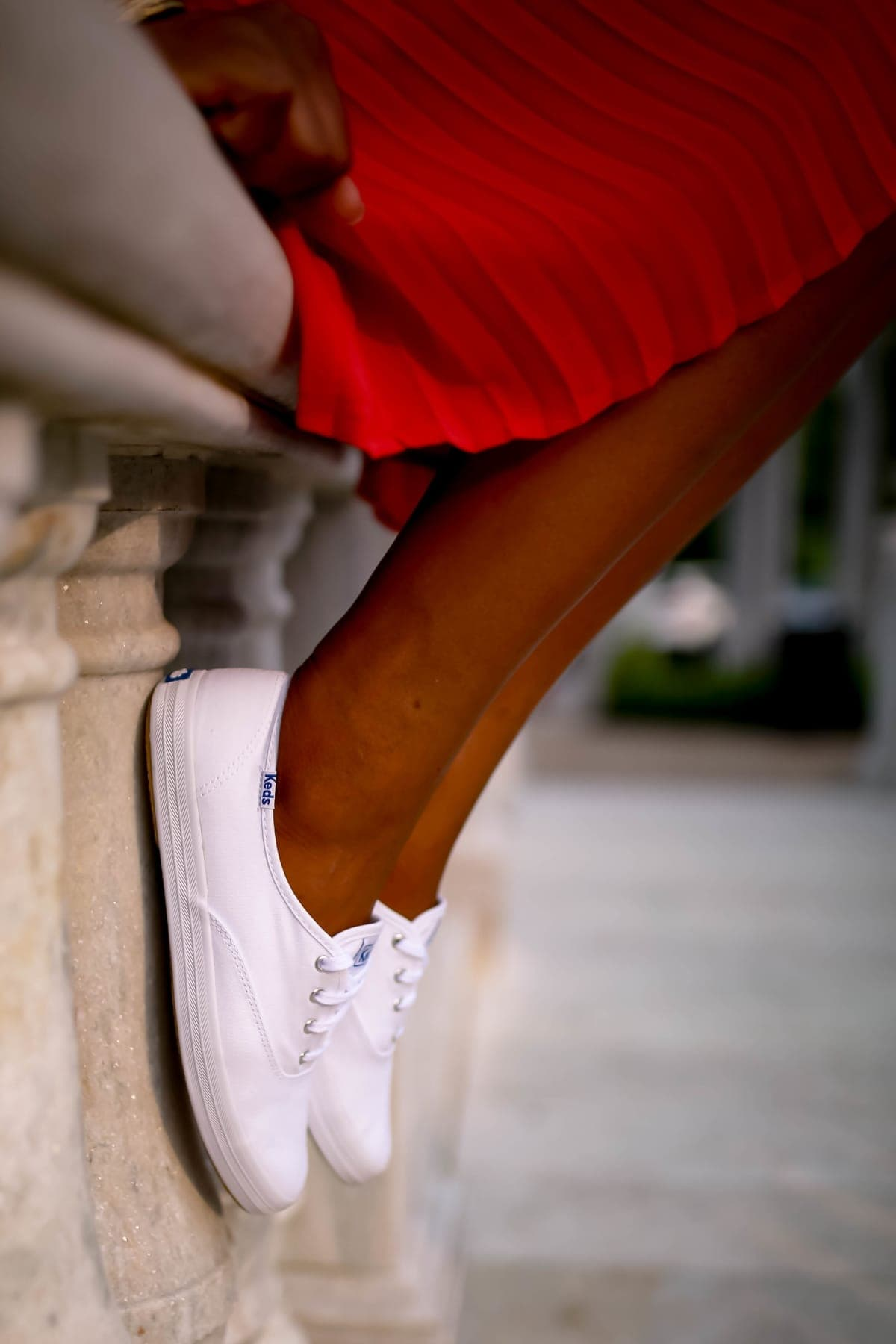Keds White Champion Canvas | the art of color blocking outfits