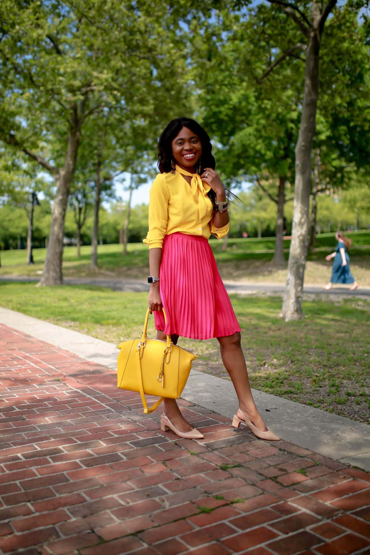Effortless Summer Style | Pink Pleated Midi Skirt, yellow bow-tie blouse, yellow top handle satchel