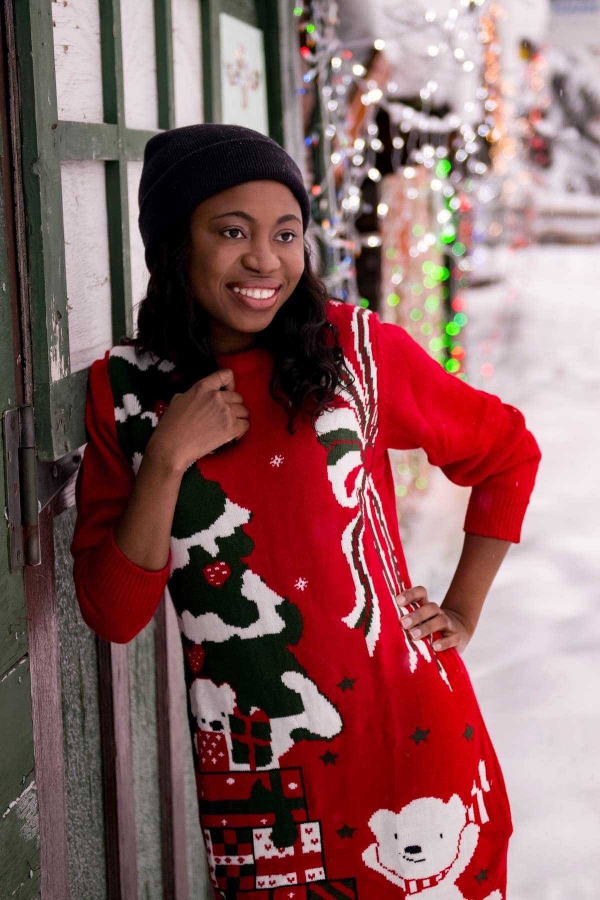 Ugly Christmas Sweater Outfit   Having so much fun in the snow rocking this ugly Christmas sweater dress. All about staying warm and comfortable this season! #uglysweater #xmassweater #sweaterdress