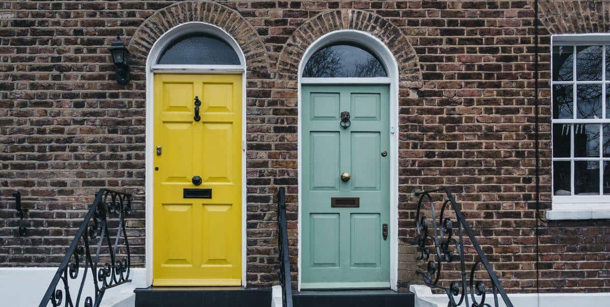 yellow and green colored composite doors