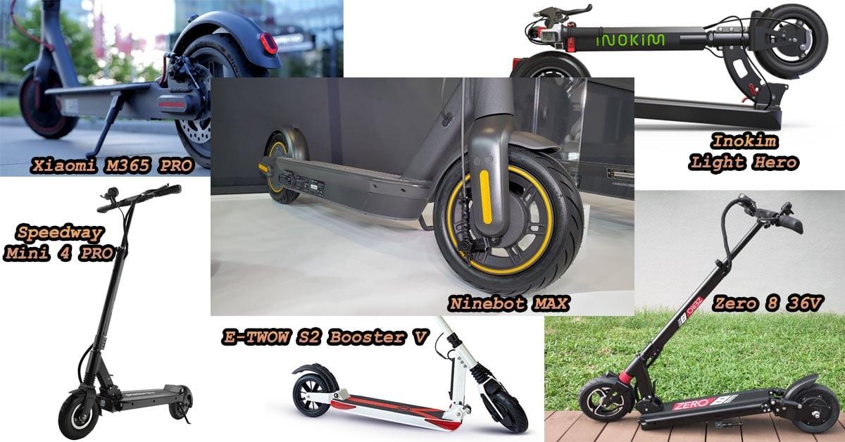 Ninebot MAX vs Xiaomi M365 PRO vs Inokim Light Hero vs Speedway Mini 4 PRO vs E-TWOW S2 Booster V vs Zero 8 36V