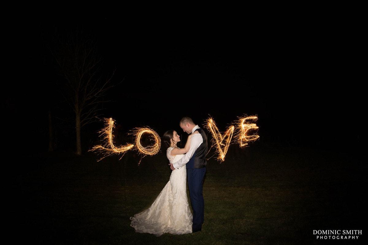 Love Sparkler Wedding Photo