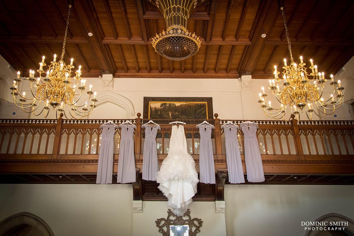 Wedding dress hanging up at Nutfield Priory