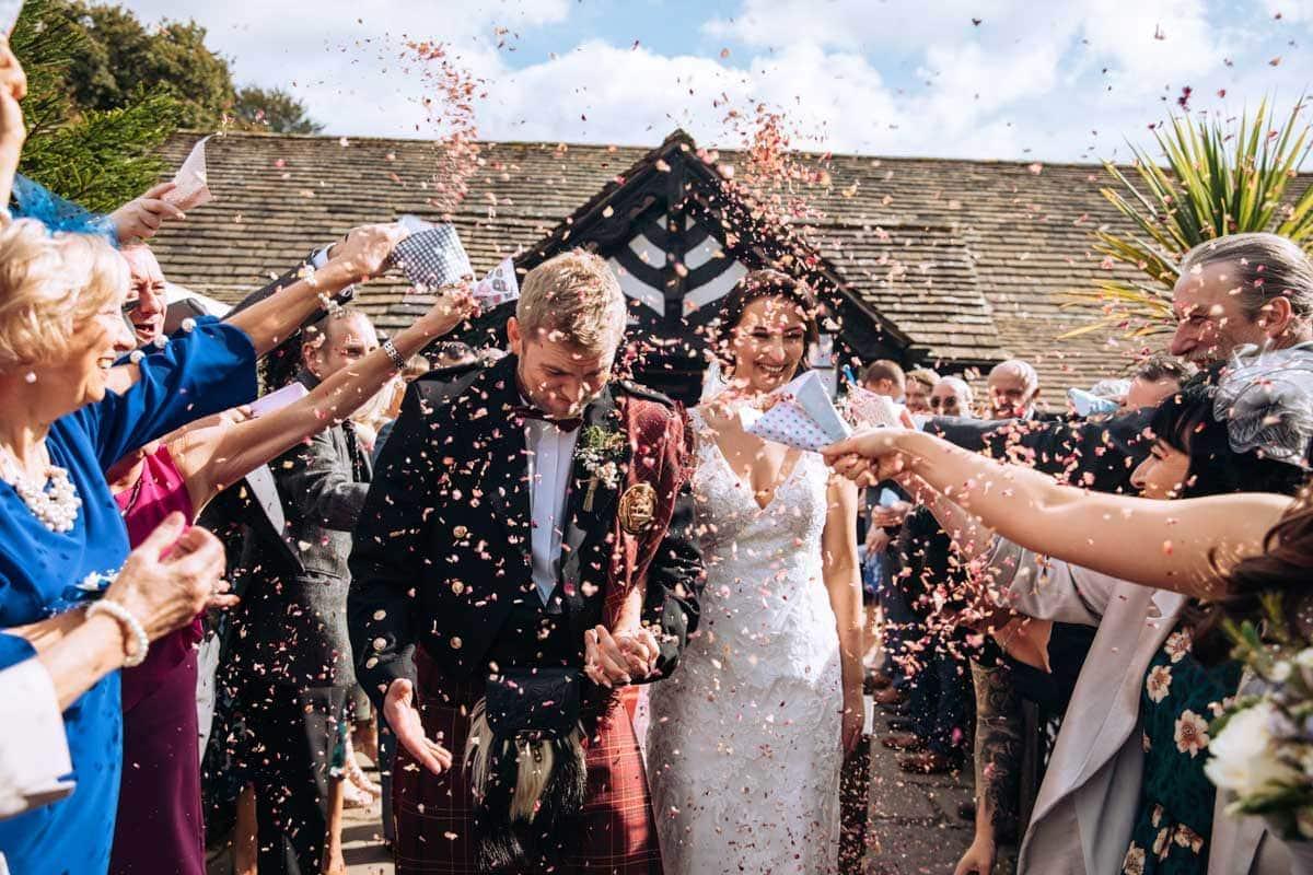 confetti overload at a wedding