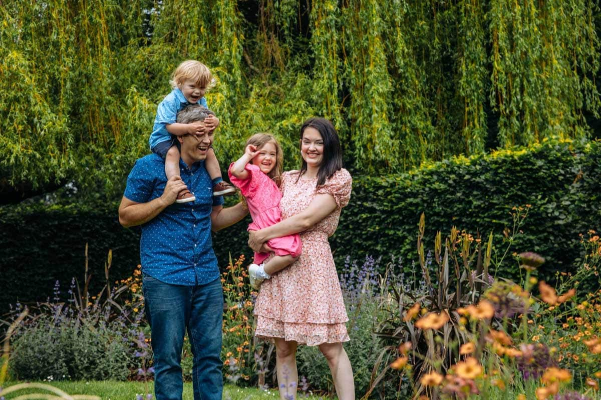 Family Photoshoot with mum dad and kids at walkden gardens