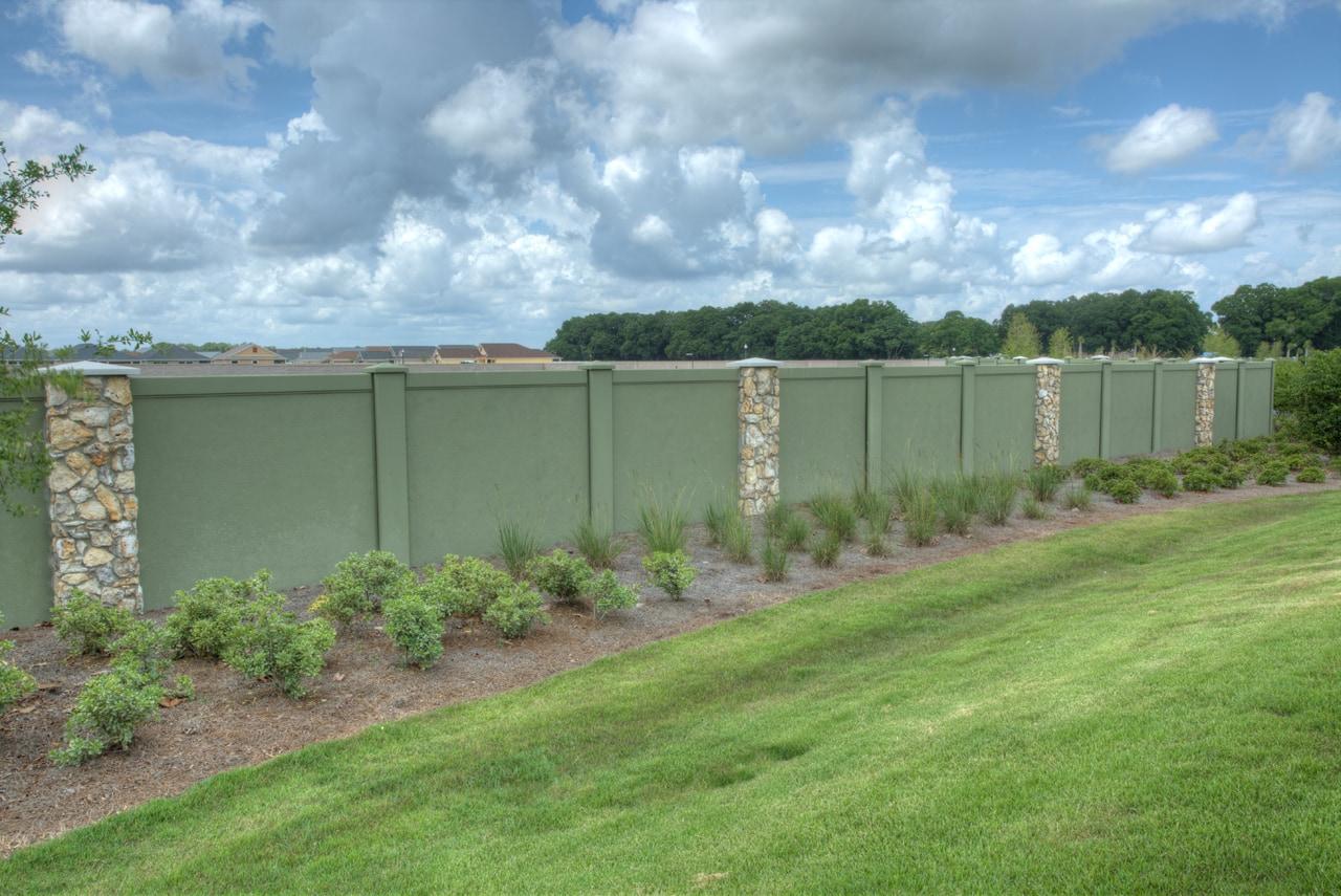 Permacast precast concrete fence in green