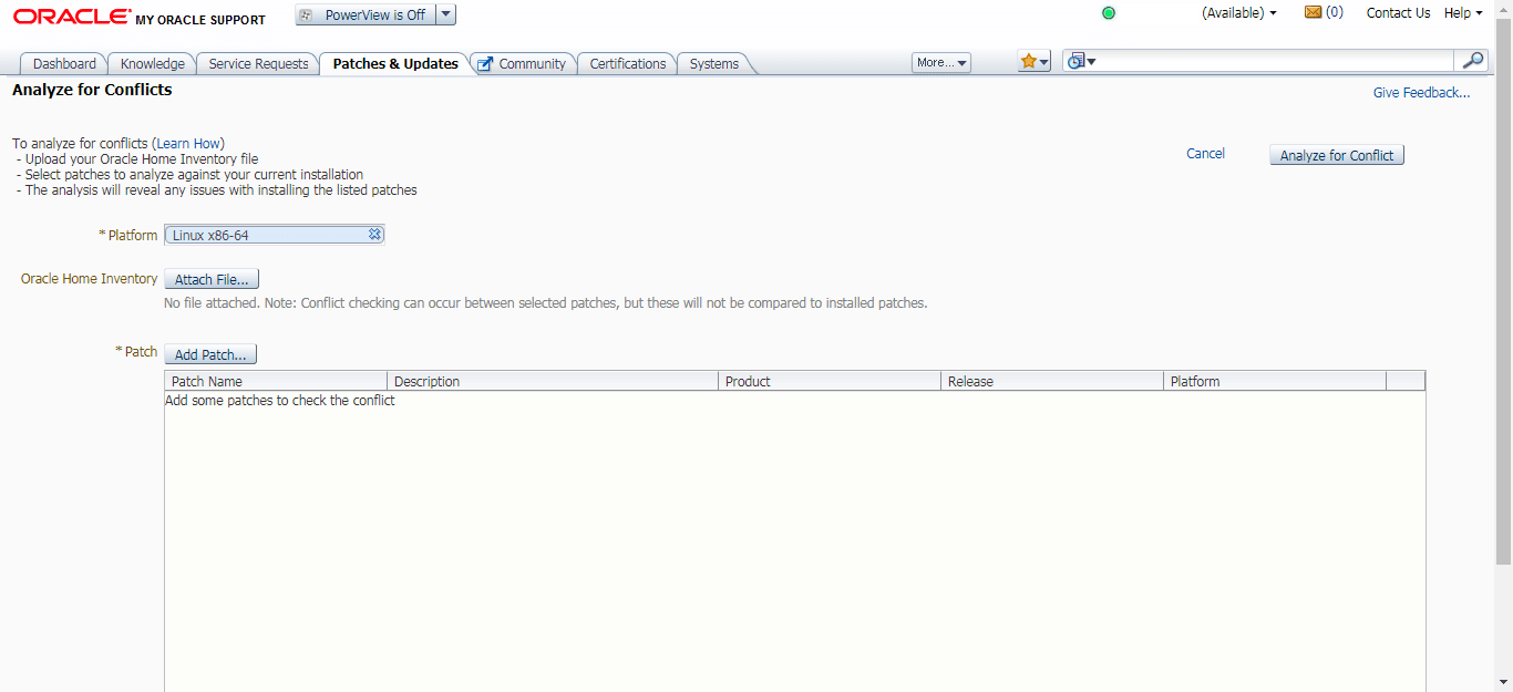 My Oracle Support Conflict Checker tool - Select Platform