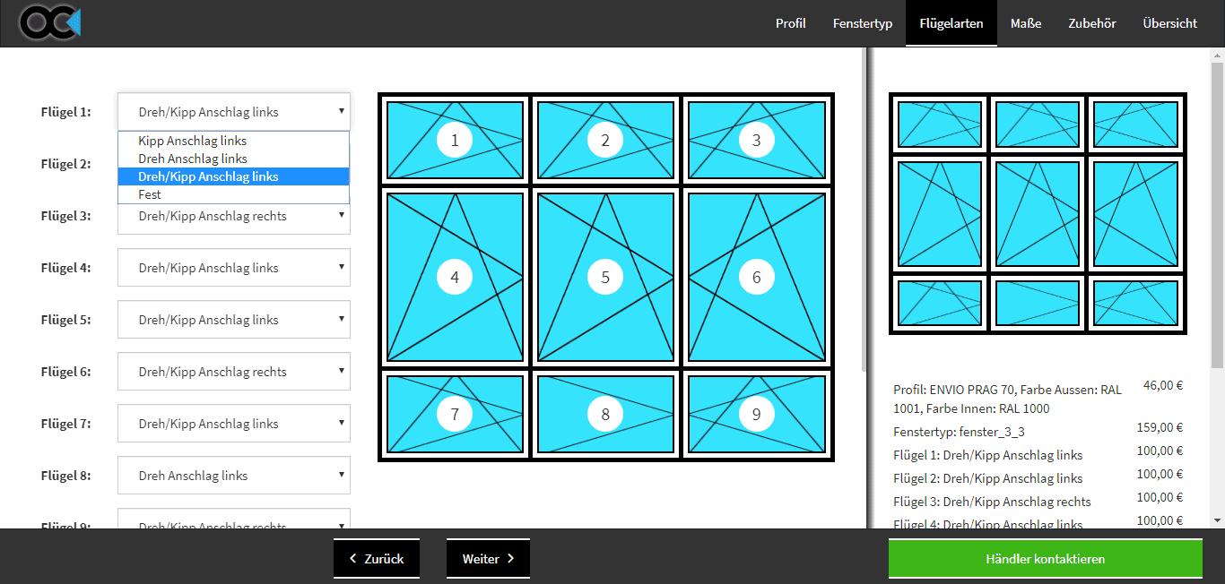 Fensterkonfigurator Software online Flügelarten Objectcode