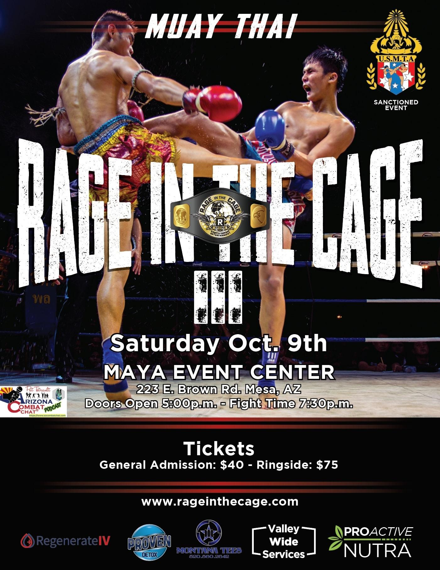 Rage in the Cage Muay Thai Sat Oct 9 Phoenix AZ- MMA Fight Coverage