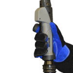 Clean Air fume extraction MIG gun with old chrome neck being held by gloved hand