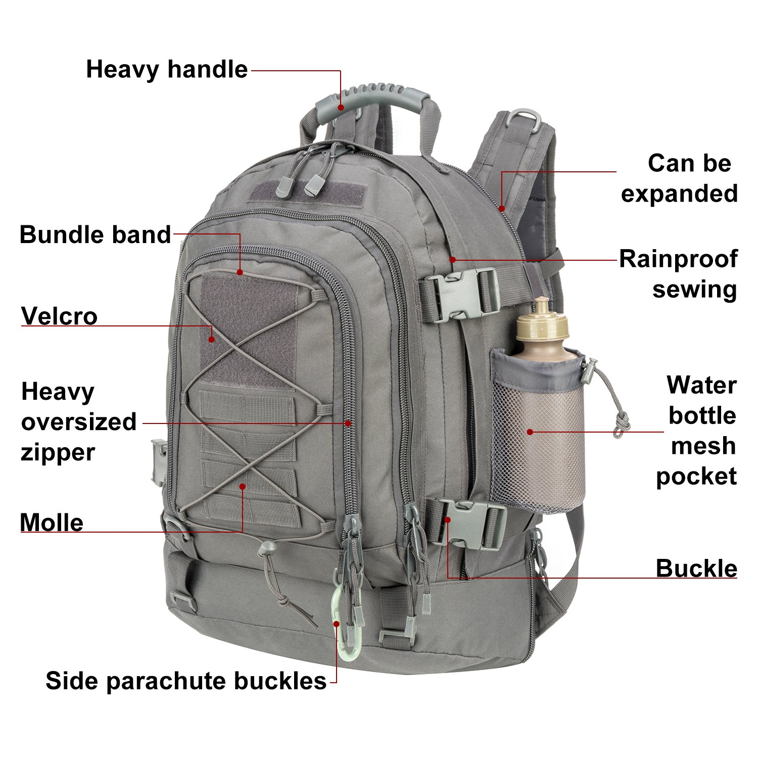 ARMYCAMOUSA Outdoor 3 Day Expandable 40-64L Backpack Military Tactical Hiking Bug Out Bag 2
