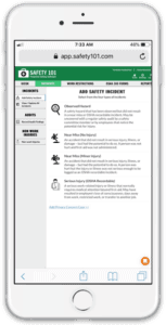 Add a safety incident on a mobile device with the Safety 101 safety management system software