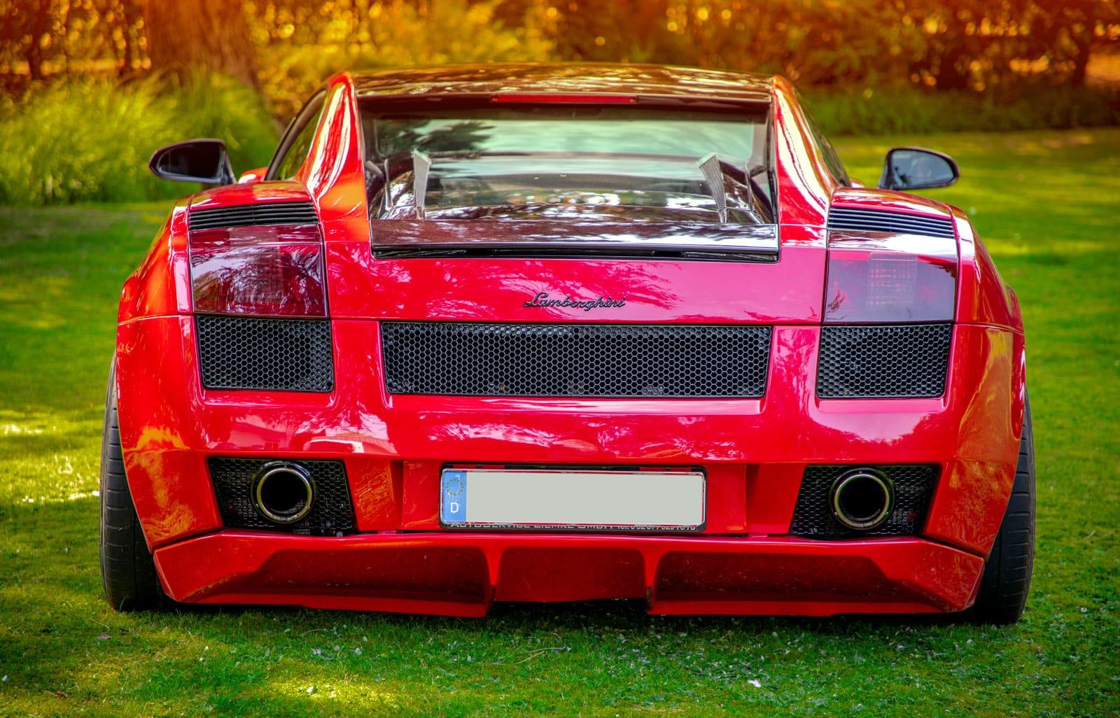 Fotografie Paderborn • DESIGN 7 • Outdoor • Lamborghini Gallardo rot hinten • Werbeagentur Paderborn