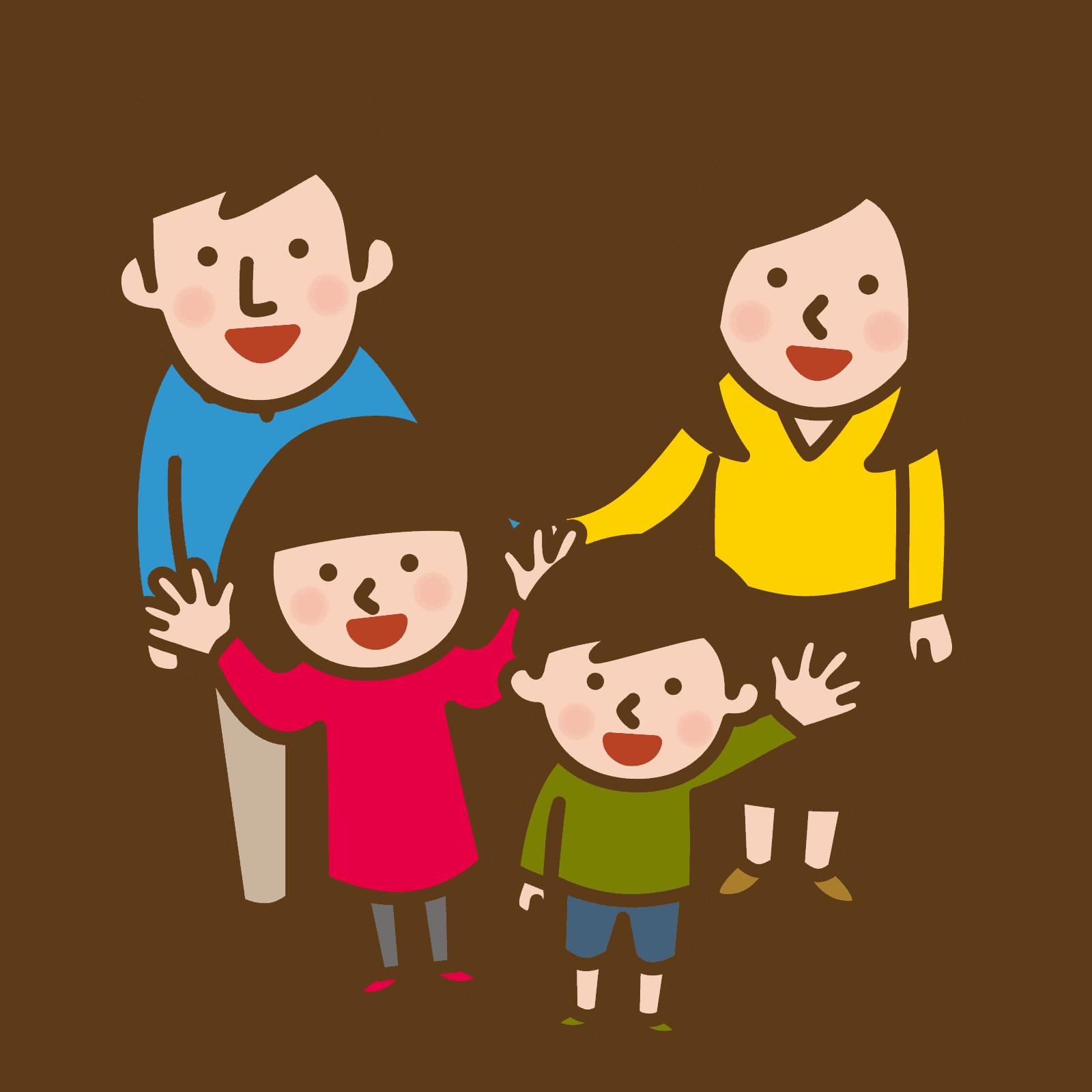 小さな子供を連れた家族の絵
