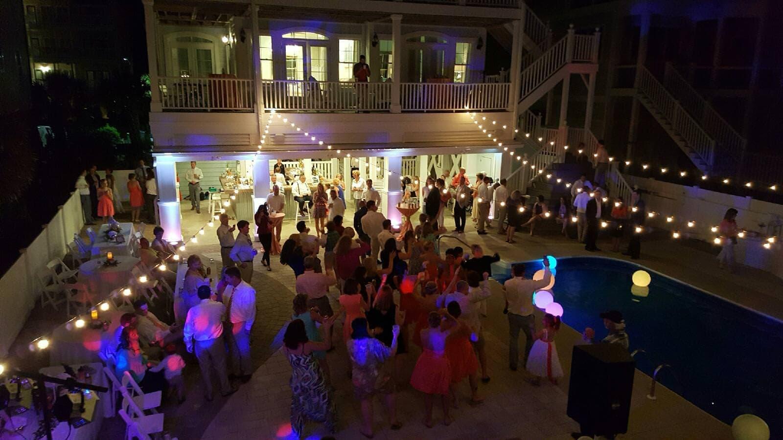 OIB wedding event string lights Wilmington Uplighting