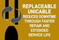 Infographic explaining product features replaceable unicable that reduces downtime through faster repair and extended service life