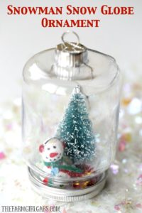 This DIY Snowman Snow Globe Ornament is an easy holiday craft to gift along with your family's Christmas cards.