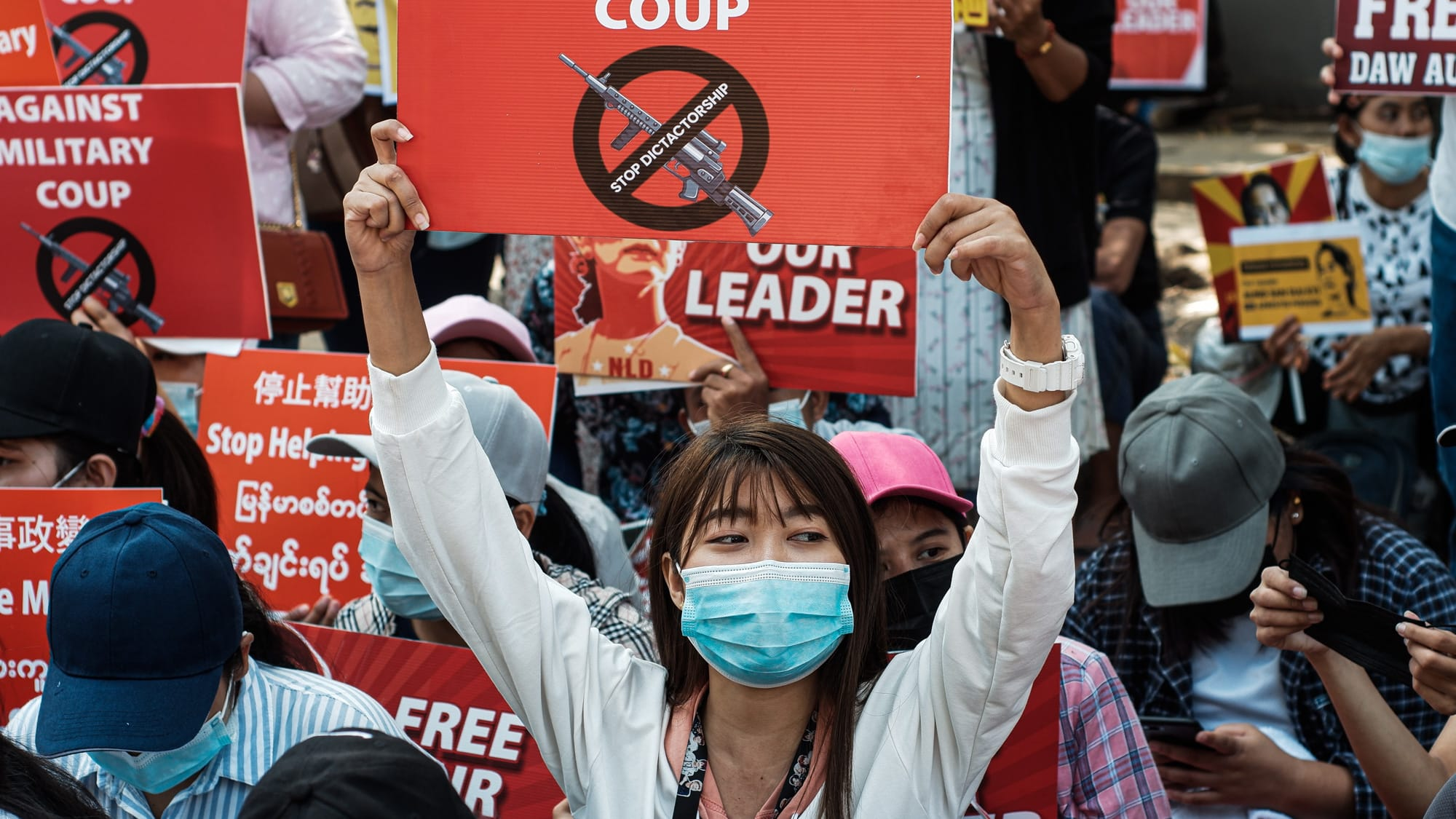 Protest in Myanmar against Military Coup 14-Feb-2021