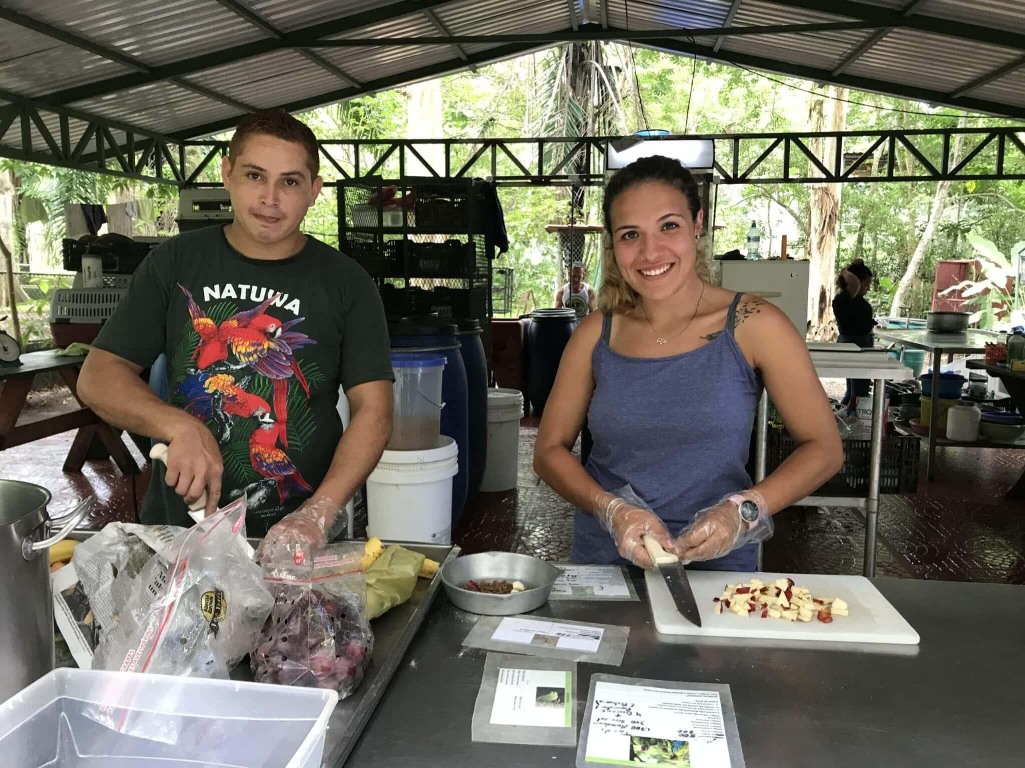 Volunteers feeding animals in NATUWA