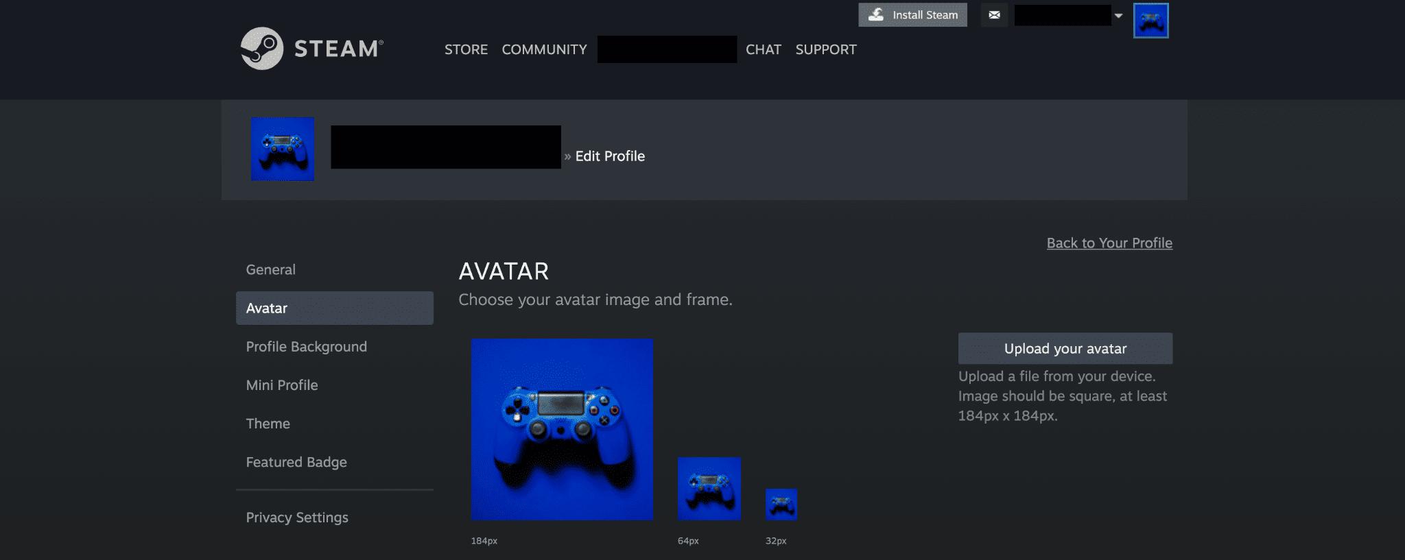 steam avatar upload
